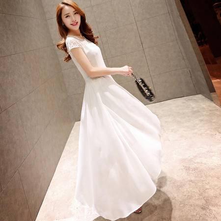 Mssefn2015新款韩版女装长款蕾丝雪纺连衣裙QYXCMZ882