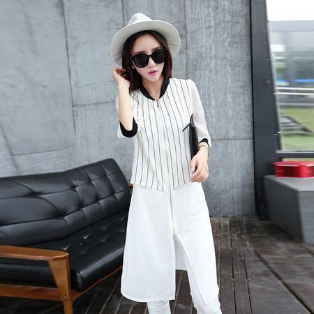 Mssefn2015夏韩版女装 时尚拼接经典竖条中长款拼接雪纺外套 潮1002