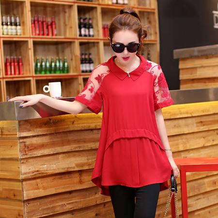 Mssefn2015夏装新款 欧美时尚女装优雅上衣娃娃领拼接透明绣花雪纺衫1206