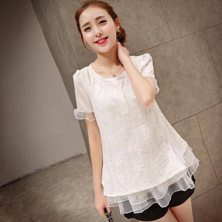Mssefn2015新款韩版时尚短袖圆领娃娃衫 蕾丝衫QTXCMZ887