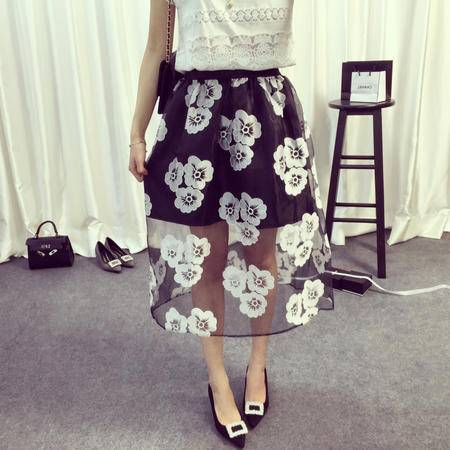 Mssefn2015夏蓬蓬黑色花朵白色条纹印花半身中裙蓬蓬半身裙6376