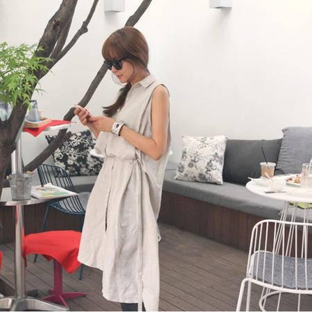 Mssefn2015麻料无袖衬衫连衣裙8406-L002