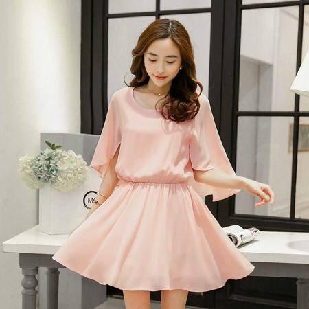 Mssefn2015夏季新款韩版蝙蝠衫雪纺连衣裙QDTZL15812