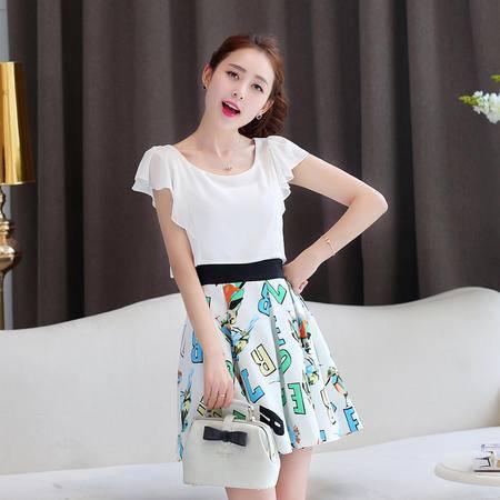 Mssefn2015时尚清新女装夏 韩版拼接荷叶短袖修身字母印花连衣裙991
