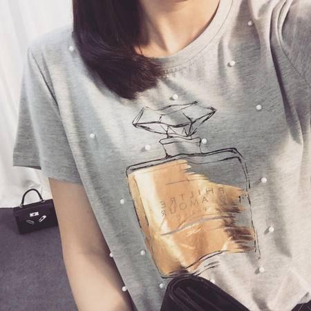 Mssefn2015夏季新女圆领短袖钉珠香水瓶印花T上衣女6030