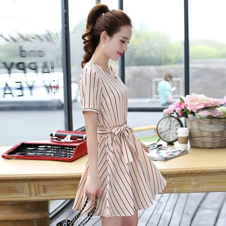 Mssefn2015新款韩版修身条纹连衣裙QFRSXS8905