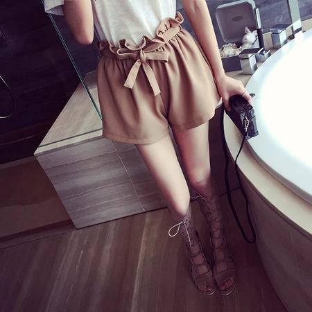 Mssefn2015春季新款欧美百搭系带花苞高腰短裤2285