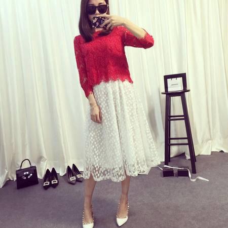 Mssefn2015夏季小清新白色刺绣花朵名媛公主半身裙中裙Q3465