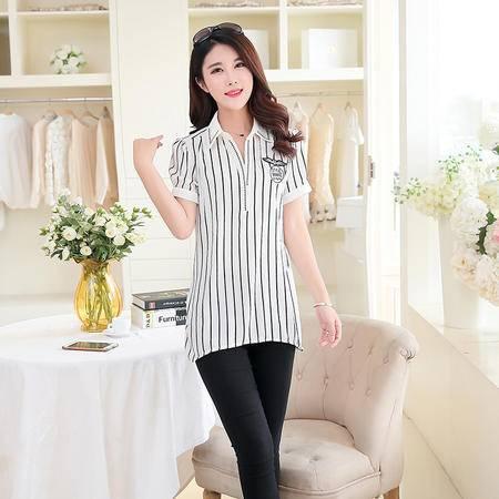 Mssefn2015夏装新款 雪纺韩版短袖衬衣1521
