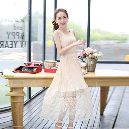 Mssefn2015新款女装韩版时尚下摆蕾丝拼接雪纺连衣裙QARSXS8902