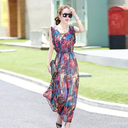 Mssefn2015新款韩版修身时尚长款无袖连衣裙QDRSXS8909