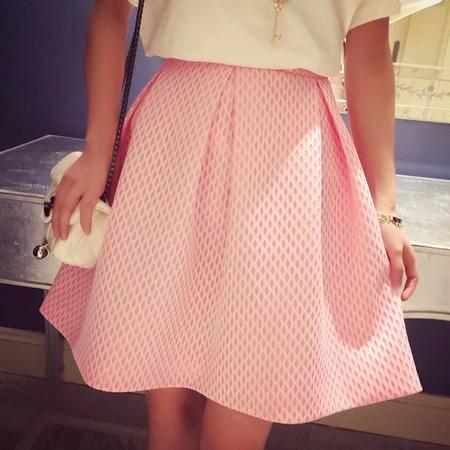 Mssefn夏装新2015韩版气质螺旋镂空编织褶皱半身伞裙短裙6045