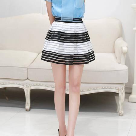 Mssefn2015夏季新款女装韩版半身裙短裙百搭A字裙修身百褶裙高腰蓬蓬裙
