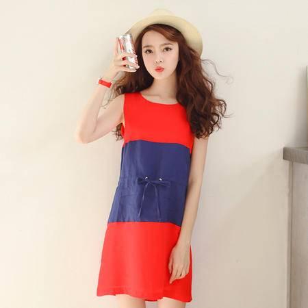 Mssefn2015夏装新款时尚简约清新无袖连衣裙QAYYLG6528