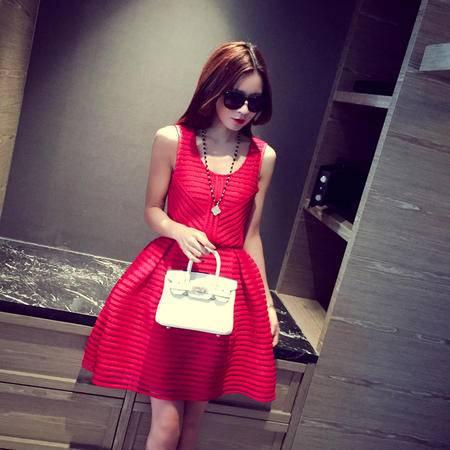Mssefn2015夏装新款韩国修身打底无袖连衣裙显瘦蓬蓬裙女6057