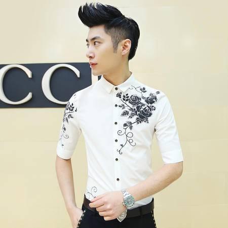 Mssefn2015男韩版修身型美发师男士七分袖衬衫玫瑰印花 白色C33