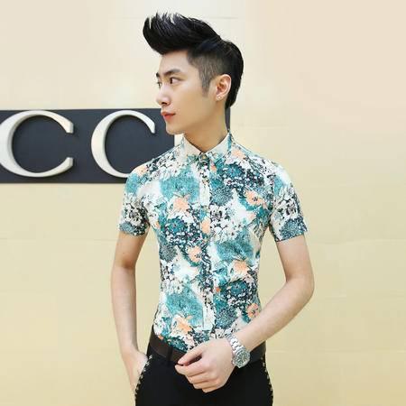 Mssefn2015夏季新款男士短袖衬衫发型师夜店寸衫C43
