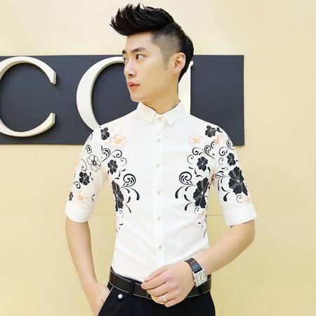 Mssefn2015夏季新款男士7分袖衬衫个性定位印花衬衣 C27