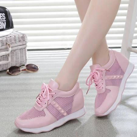 Mssefn2015新品 内增高 牛皮 铆钉 休闲慢跑鞋 女单鞋WZ27-8829