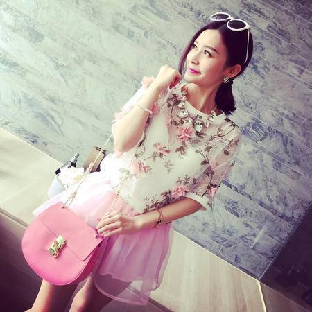 Mssefn2015夏装新款韩版双层立体花朵透视网纱短袖T恤女7050