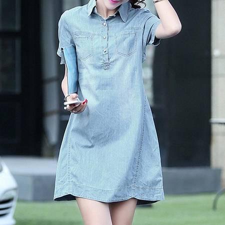 messefn2015夏季新品韩版女装牛仔连衣裙873