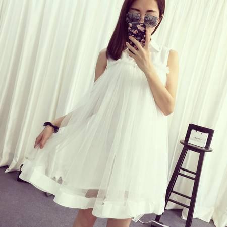Mssefn2015夏季新款女韩版网纱拼接大摆公主裙蓬蓬连衣裙1055