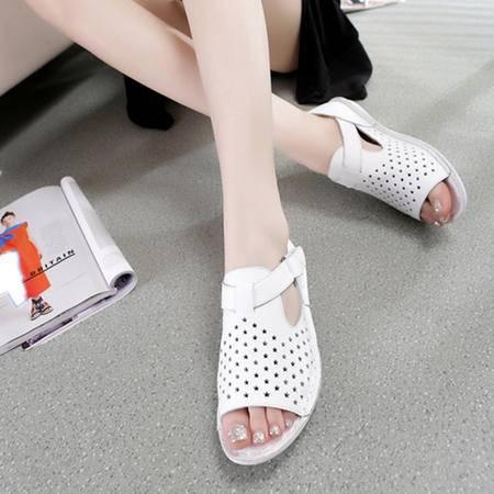 Mssefn2015新品真皮 头层牛皮 鱼嘴 打孔 潮韩 女平底凉鞋WZ30-W3505
