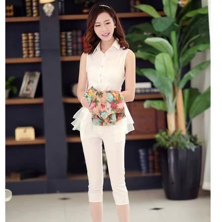 mssefn2015夏季新品韩版双层衣摆上衣女印花 七分裤三件套潮1058318