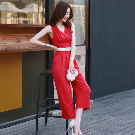 mssefn2015夏季新品韩版性感V领雪纺无袖修身连体裤休闲阔腿裤858505