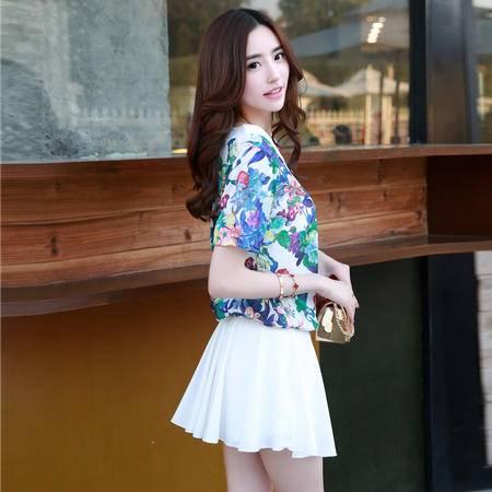 mssefn2015夏季新品韩版印花女上衣 半身裙短裙甜美连衣裙两件套608322