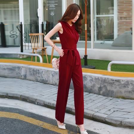 Mssefn2015夏装女装新款V领修身显瘦直筒休闲高腰连体裤长裤958503