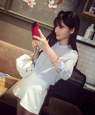 Mssefn2015春装新款韩版甜美系袖口蝴蝶结雪纺衬衣衬衫女2578