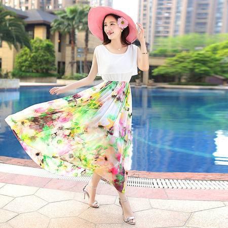 Mssefn2015新款女装雪纺拼接印花长款连衣裙QWYGNR0138