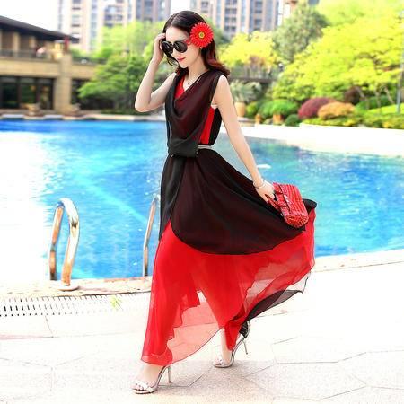 Mssefn2015新款韩版显瘦高挑减龄长款无袖雪纺连衣裙QRYGNR0137