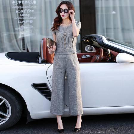 Mssefn2015夏装新款上衣九分阔腿裤两件套韩版短袖时尚职业休闲套装905
