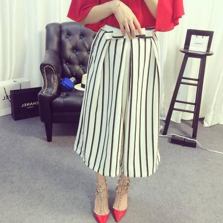 Mssefn2015夏装新款欧美时髦显瘦竖纹九分阔腿裤女7403