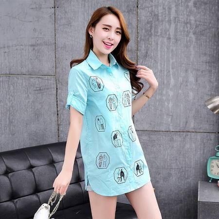 Mssefn2015夏装新款中长款印花衬衣韩版大码女士衬衫G037
