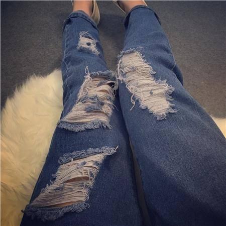 Mssefn2015春夏新款破洞韩版显瘦破洞宽松休闲哈伦牛仔裤女小脚裤J5260