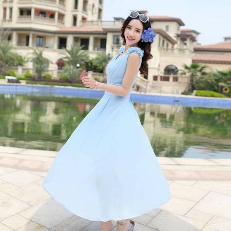 Mssefn2015夏装新款圆领无袖收腰修身雪纺连衣裙QTMS5687