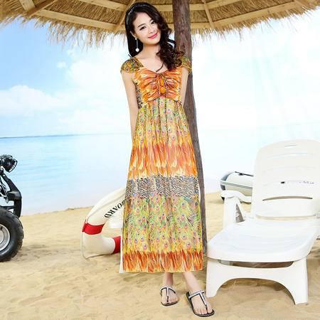 Mssefn2015夏季女装波西米亚韩版修身雪纺连衣裙无袖长裙925
