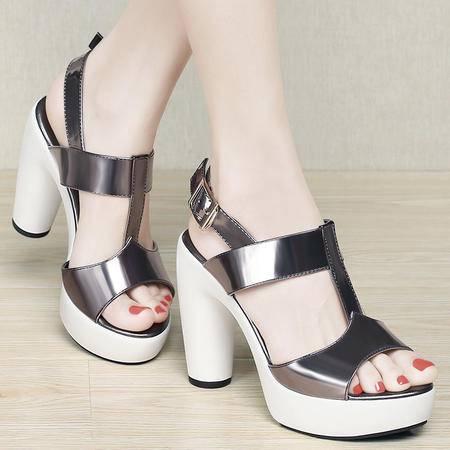 Mssefn2015新品亮面漆皮粗跟女高跟女凉鞋子DS12-1048