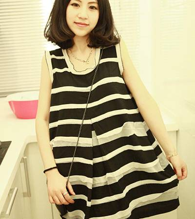 mssefn2015夏季新款韩版无袖宽松可爱雪纺连衣裙C86