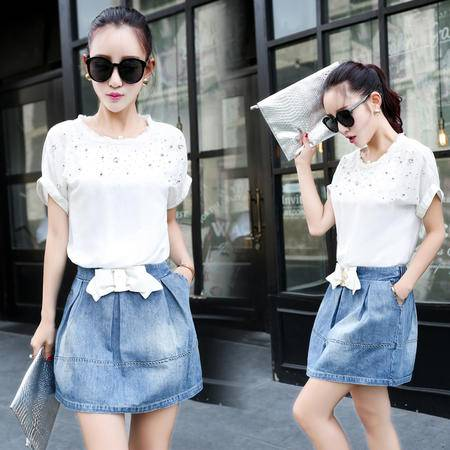 Mssefn2015夏新品韩版牛仔拼接针织短袖A字裙修身显瘦连衣裙女YLMH85