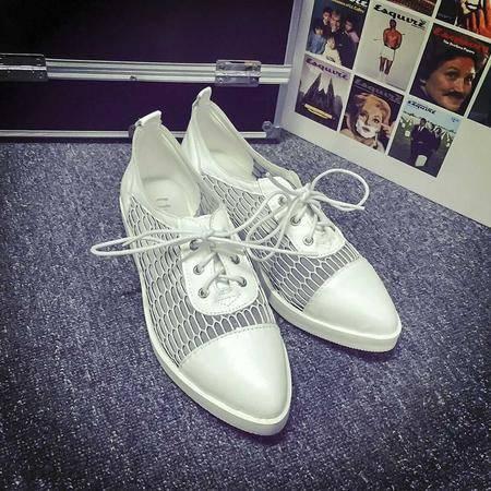 Mssefn2015爆款网纱尖头镂空羊皮拼接单鞋A19-6