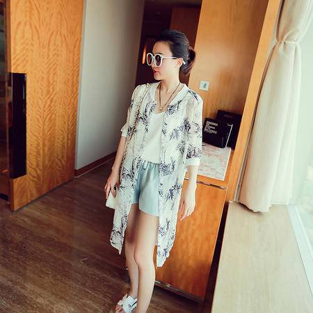 mssefn2015夏季新款女韩版长款印花雪纺防晒衫五分袖防晒衣外套