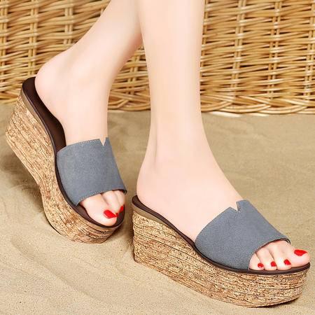 mssefn 2015 夏季 新款 专柜正品 反毛牛皮女鞋 厚底女拖鞋DS12-1051