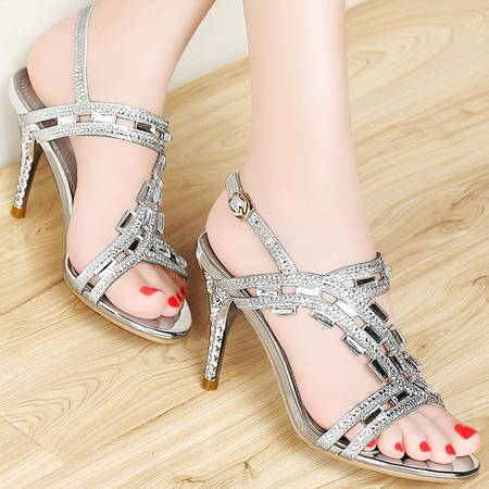 mssefn 2015夏季 新款 欧美时尚 水钻 细跟 高跟鞋  女凉鞋 DS12-8204-145
