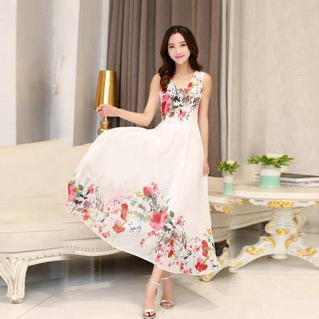 Mssefn2015夏季新款进口雪纺水墨连衣裙2210