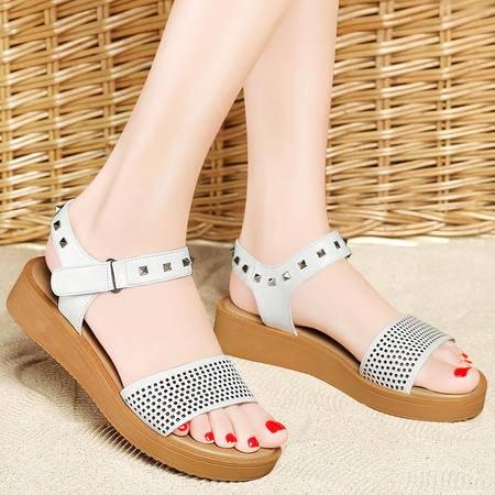Mssefn2015夏季新款 专柜正品 铆钉厚底女凉鞋DS12-8214