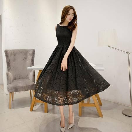 Mssefn夏季新款修身镂空蕾丝连衣裙韩版显瘦小香风无袖长裙女G103